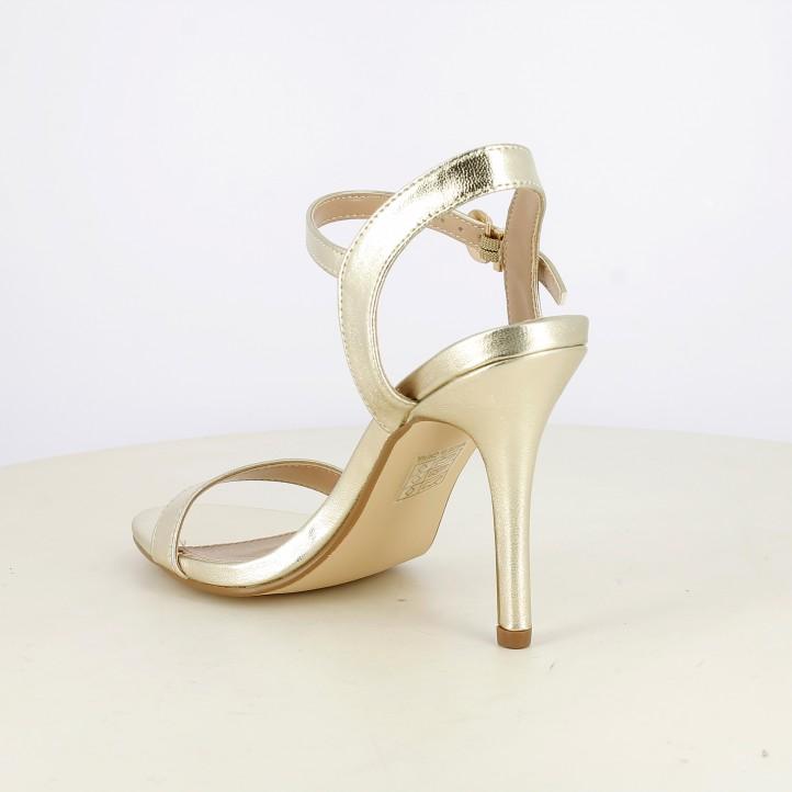 Sandàlies taló Owel daurades metal·litzades amb tires, sivella i taló d'agulla - Querol online