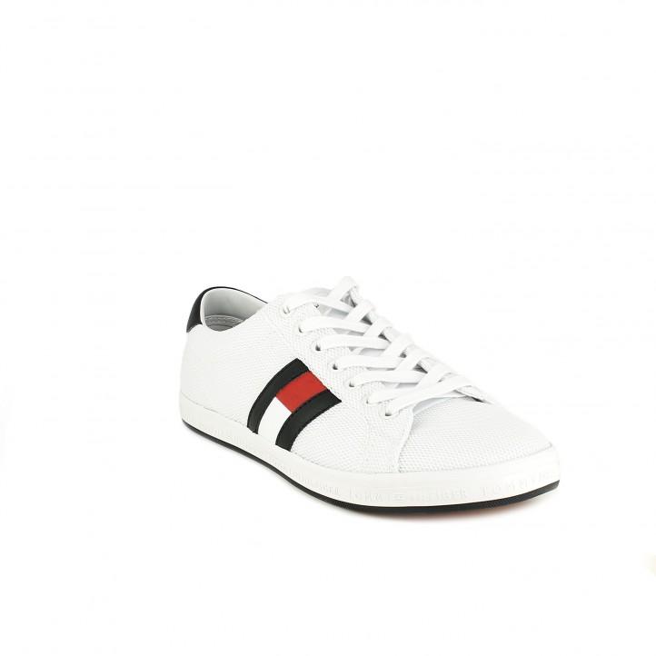 Zapatillas deportivas Tommy Hilfiger blancas con bandera lateral - Querol online