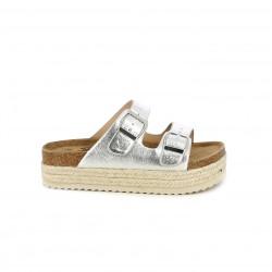 sandalias Xti grises metalizadas con plataforma de esparto - Querol online