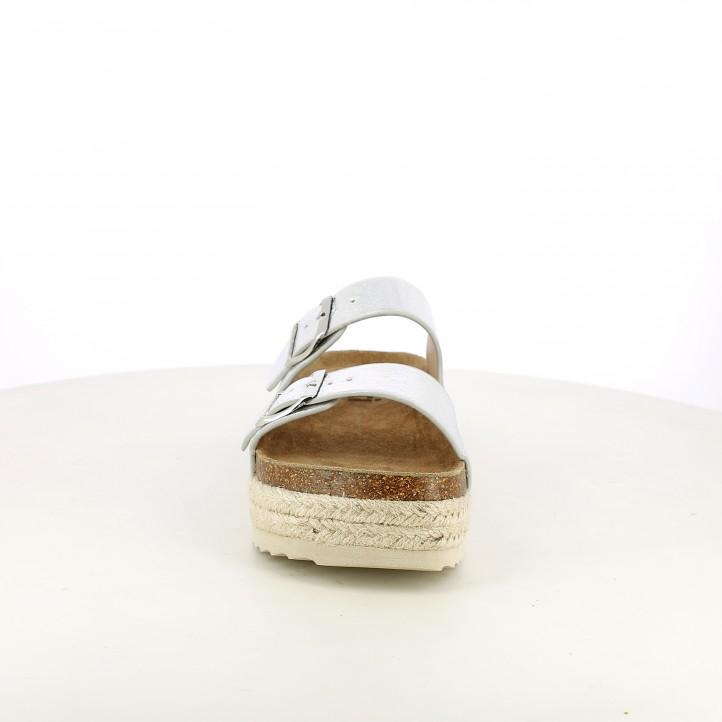 sandalias Xti grises metalizados con plataforma de esparto - Querol online