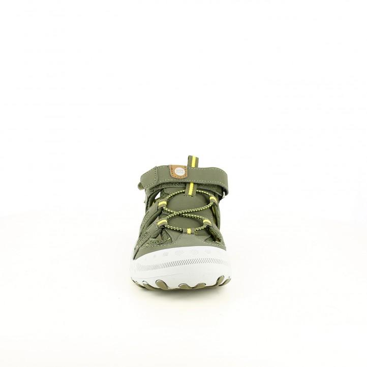 sandalias Gioseppo cerradas verdes con suela de piel - Querol online