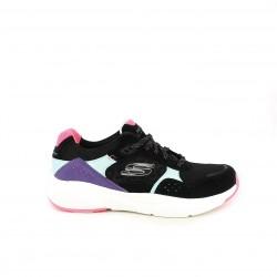 Zapatillas deportivas Skechers memory foam negras con detalles multicolor - Querol online