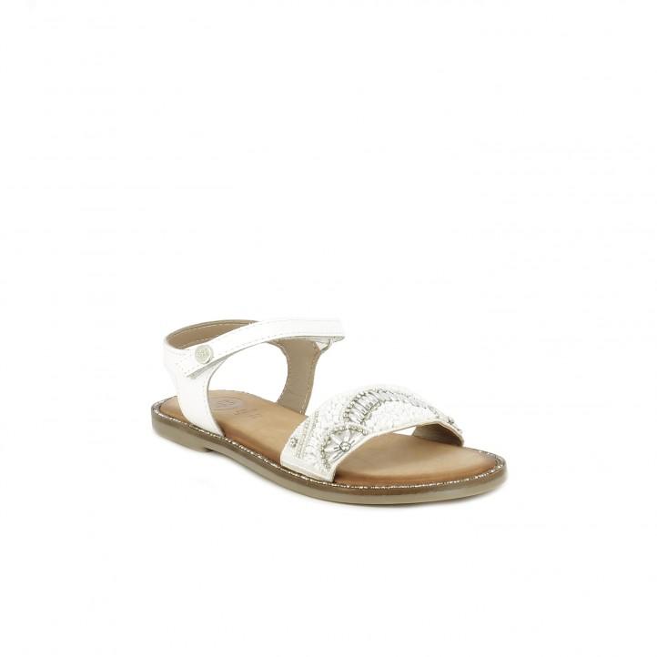 sandalias Gioseppo blancas de piel con abalorios - Querol online