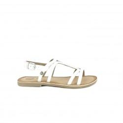 sandàlies Gioseppo blanques de pell amb sivella al turmell - Querol online