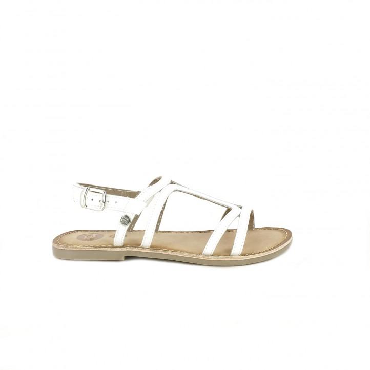sandalias Gioseppo blancas de piel con hebilla en el tobillo - Querol online