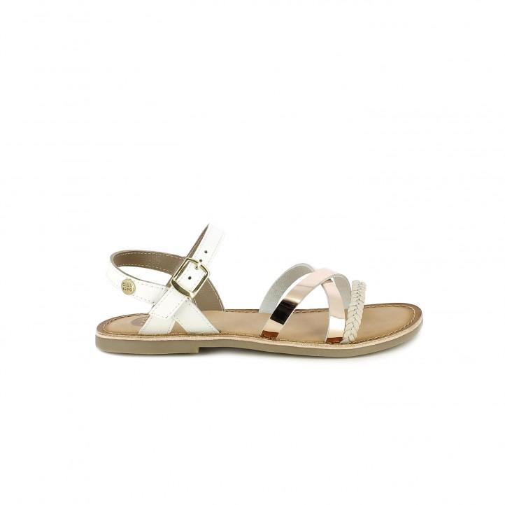 sandalias Gioseppo blancas de piel con tiras metalizadas - Querol online