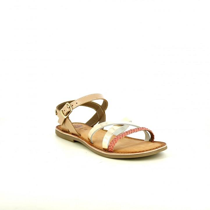 sandalias Gioseppo marrones de piel con tiras metalizadas - Querol online