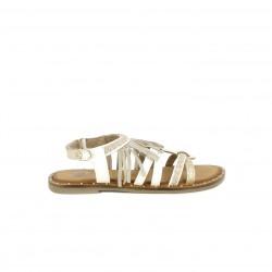 sandàlies Gioseppo blanques de pell amb detalls metal·litzats i serrell - Querol online