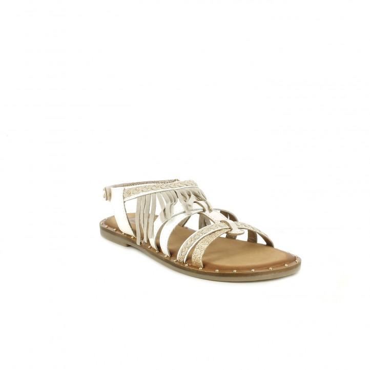 sandalias Gioseppo blancas de piel con detalles metalizados y flecos - Querol online