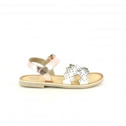 sandalias Gioseppo blancas y rosas metalizadas de piel con velcro - Querol online