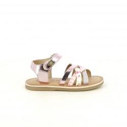 sandalias Gioseppo de piel rosas metalizadas, purpurina y estampado - Querol online