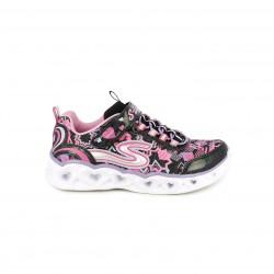 Zapatillas deporte Skechers negras y rosas con luces - Querol online