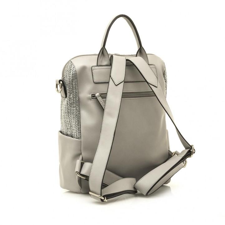 Complementos Maria Mare mochila gris metalizada con cremallera - Querol online