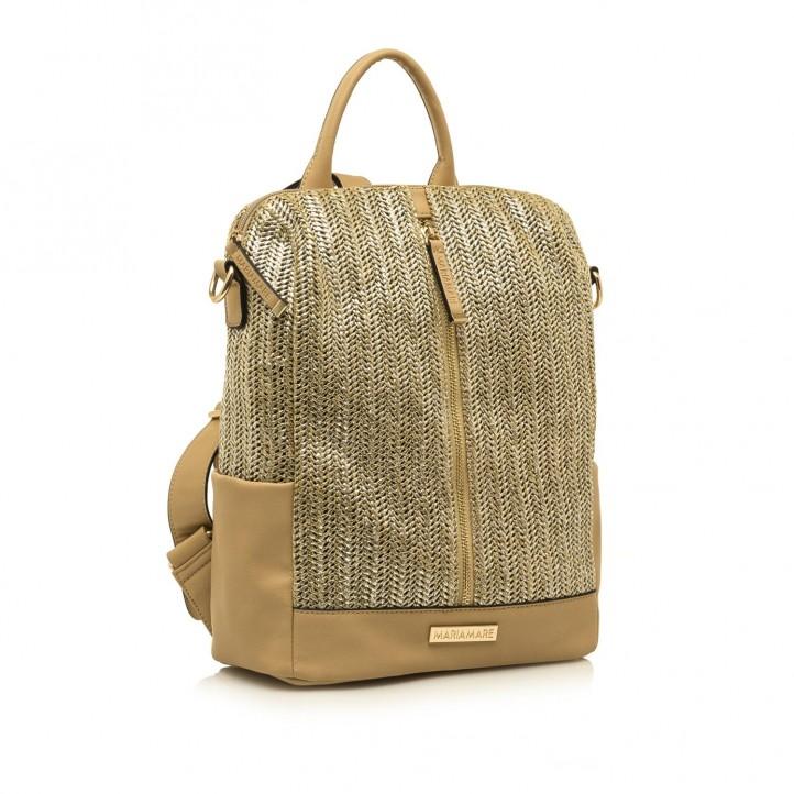 Complementos Maria Mare mochila marrón metalizada con cremallera - Querol online