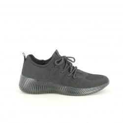 Zapatillas deportivas Owel negras de cordones con suela negra - Querol online