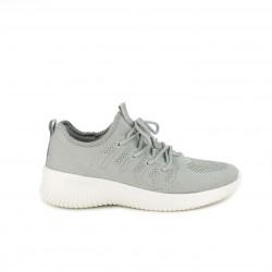 Zapatillas deportivas Owel grises de cordones con suela blanca - Querol online