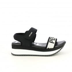 Cuñas Pepe Jeans negras y blancas con plataforma y velcro - Querol online