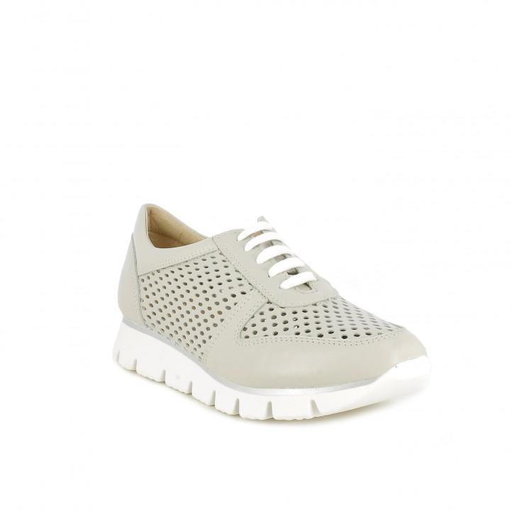 Zapatos planos Redlove de piel grises con orificios y cordones - Querol online