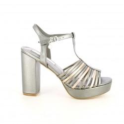 Sandalias tacón Xti grises metalizadas con suela de piel - Querol online