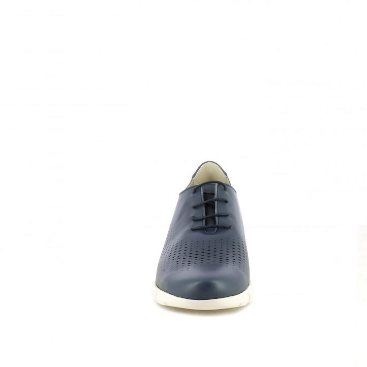 Zapatos planos Suite009 azules de piel con cordones y orificios - Querol online