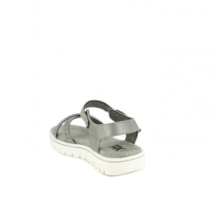 sandalias Xti grises con hebilla, tiras y brillantes - Querol online