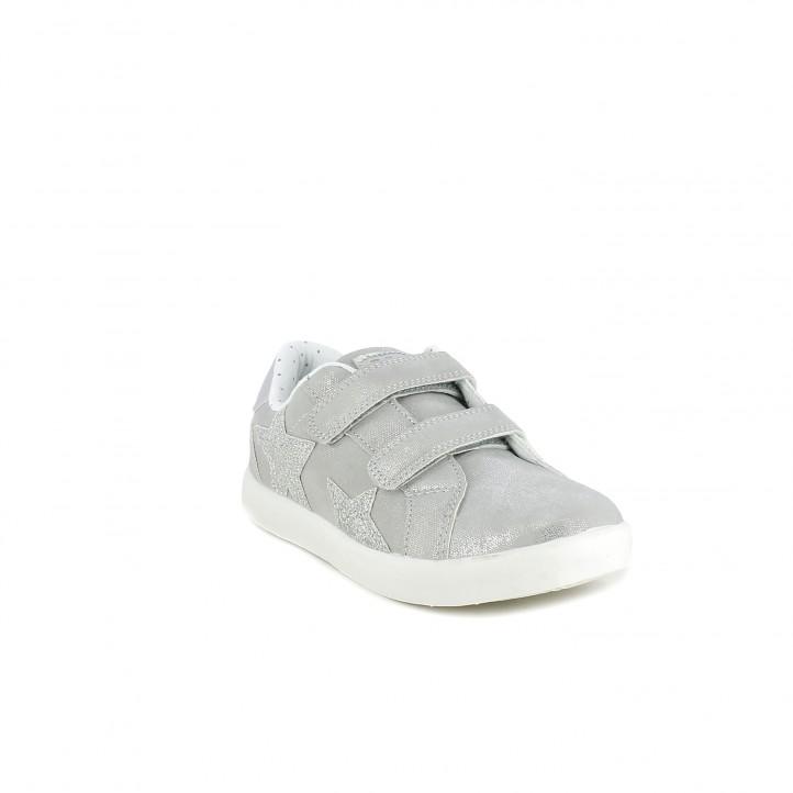 Zapatillas deporte Xti grises brillantes con velcros y estrellas - Querol online