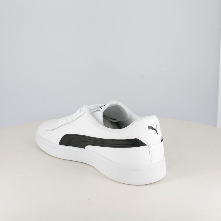 Zapatillas deportivas Puma smash v2 blancas y negas con cordones - Querol online