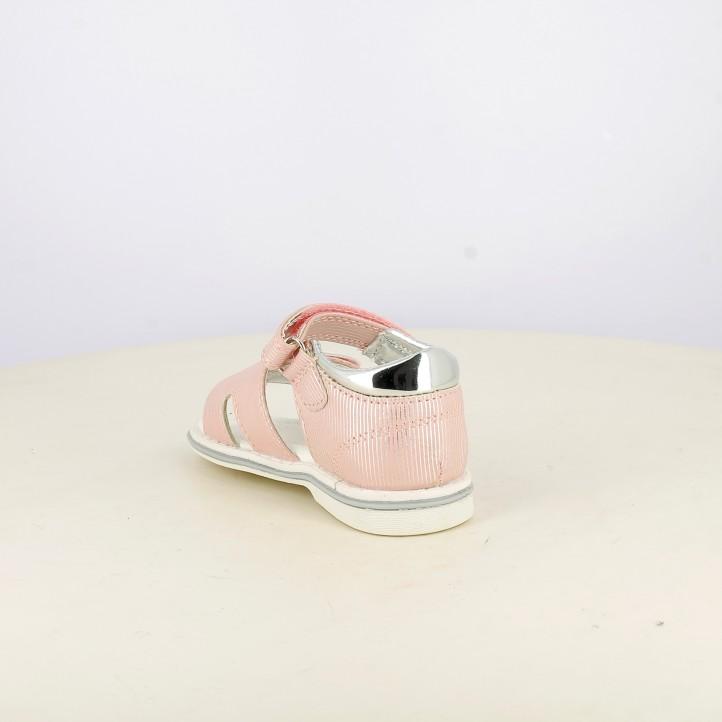 sandalias Sprox cerradas rosas con detalles plateados y doble velcro - Querol online