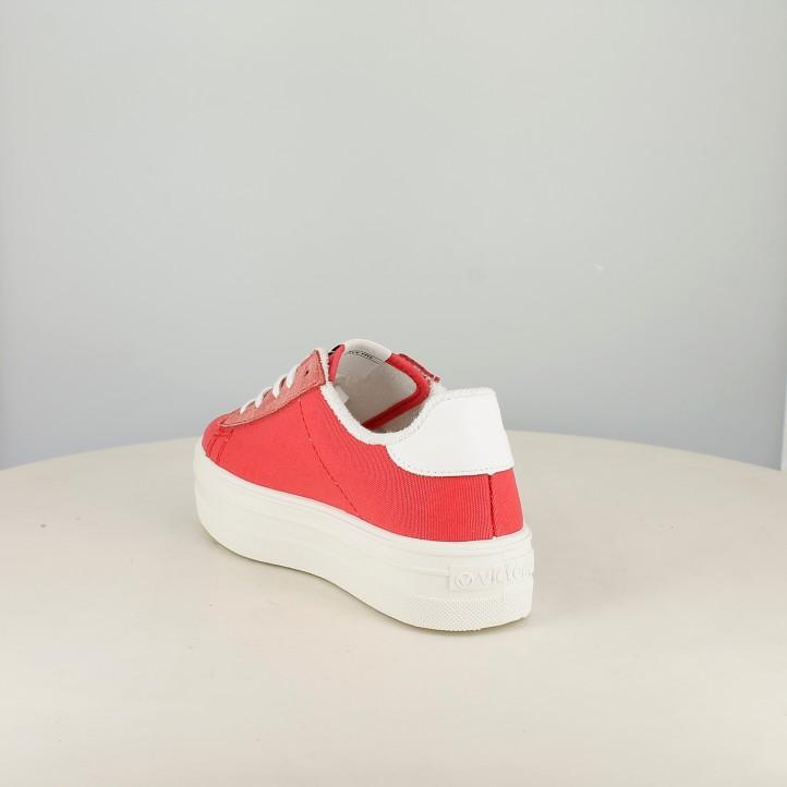 Zapatillas lona Victoria rosas y blancas con plataforma y cordones - Querol online