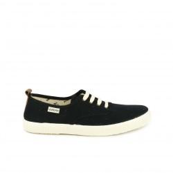 Zapatillas lona Victoria negras con cordones blancos - Querol online