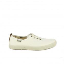 Zapatillas lona Victoria beige con cordones blancos - Querol online