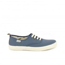 Zapatillas lona Victoria azules con cordones plancos - Querol online