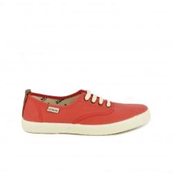 Zapatillas lona Victoria rojas con cordones blancos - Querol online