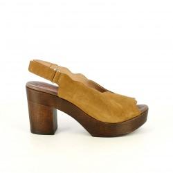 Sandalias tacón Redlove marrones de piel con velcro y tacón de madera - Querol online