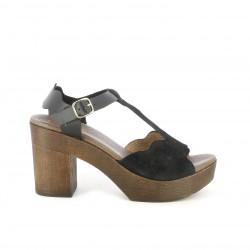 Sandalias tacón Redlove negras de piel con tiras, hebilla y tacón de madera - Querol online