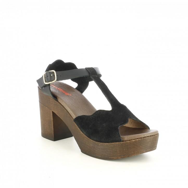 Sandàlies taló Redlove negres de pell amb tires, sivella i taló de fusta - Querol online