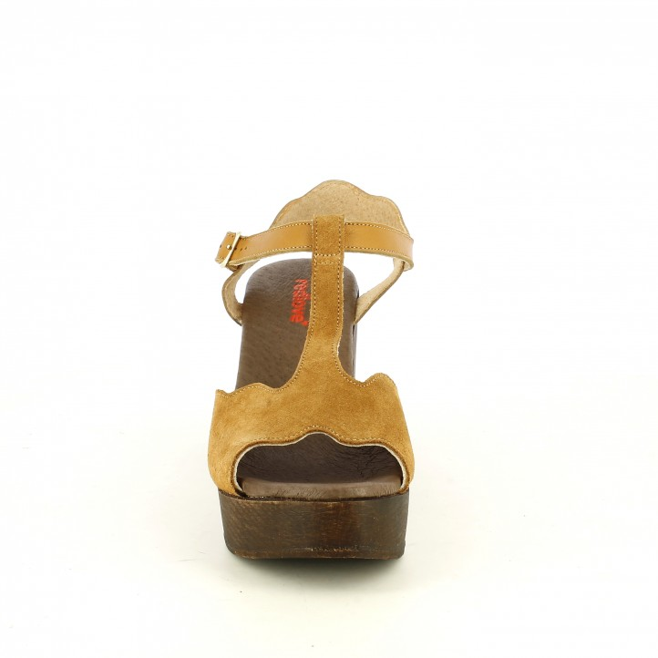 Sandàlies taló Redlove marrons de pell amb tires, sivella i taló de fusta - Querol online