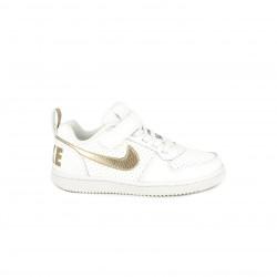 Zapatillas deporte Nike court blancas y doradas con cordones y velcro