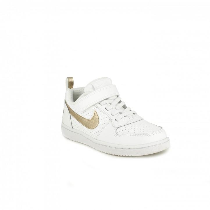 Zapatillas deporte Nike court blancas y doradas con cordones y velcro - Querol online