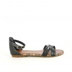Sandalias planas Porronet negras de piel con hebilla en el tobillo - Querol online