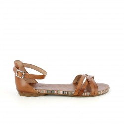 Sandalias planas Porronet marrons de piel con hebilla en el tobillo - Querol online