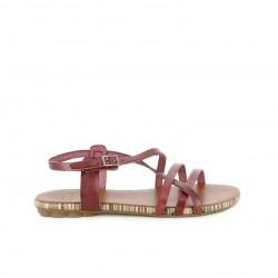 Sandalias planas Porronet de piel rojas con tiras y hebilla en el tobillo - Querol online
