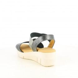 Cuñas Suite009 negras metalizadas con elásticos y tiras - Querol online