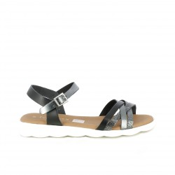 Sandalias planas Suite009 negras metalizadas con tiras y hebilla - Querol online