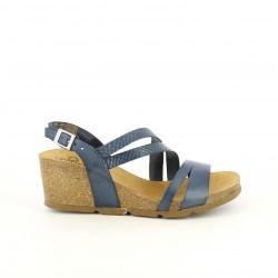 Cuñas Yokono azules de piel con tiras y plataforma - Querol online
