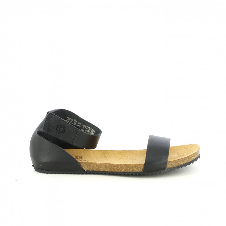 eb2ed34eff6 Sandalias planas Yokono negras de piel con velcro en el tobillo - Querol  online ...
