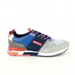 Zapatillas deportivas Replay azules y grises con cordones - Querol online