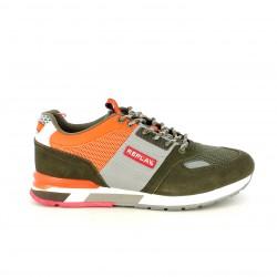 Zapatillas deportivas Replay verdes y naranjas con cordones - Querol online