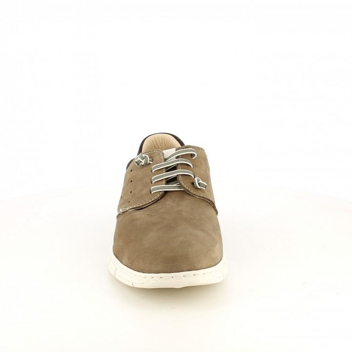 Zapatos sport Baerchi marrones de piel y cordones elásticos - Querol online