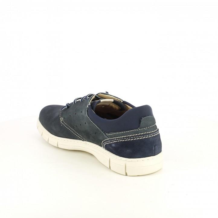 Zapatos sport Baerchi azules de piel y cordones elásticos - Querol online